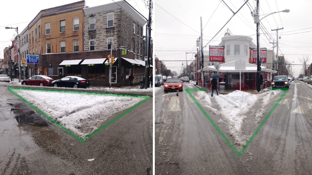 "Sneckdowns, which demonstrates the potential for safer, shorter pedestrian crossing zones. Image: <a href=""http://www.thisoldcity.com/advocacy/photos-what-snow-tells-us-about-creating-better-public-spaces-e-passyunk-avenue#.VL0yk0fF95L"" target=""_blank"">This Old City</a>"